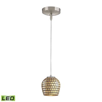 Low Voltage LED Collection 1-Light Mini Pendant in Brushed Nickel with Gold leaf (GLD) Glass