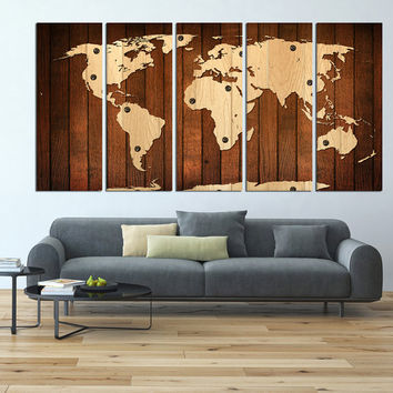 world map canvas art print, vintage world map wall art, large canvas print, extra large wall art, wooden pattern world map textured t449