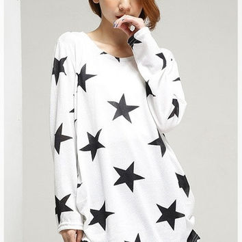 2015 Maternity Autumn New Korean Style Long Sleeved  Black And White Star Print Fashion T-Shirts = 1945739844