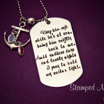 Navy Wife's Prayer - Hand Stamped Stainless Steel Dog Tag - Anchor Charm with Birthstones - Military Deployment Jewelry - Long Distance Love