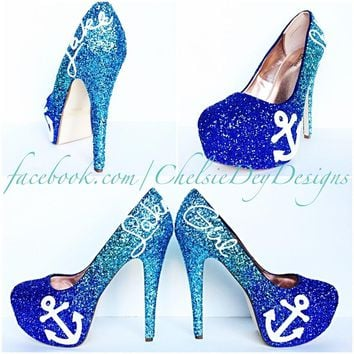 Blue Ombre Glitter High Heels, Lake Girl Wedding Shoes, Sparkly Prom Pumps