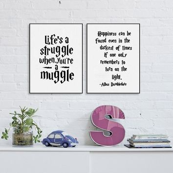 Albus Dumbledore Wall Art Decor Canvas Prints Poster , Harry Potter Quote Canvas Painting Home Kids Room Decoration