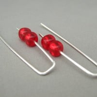 Cherry Red Cube Czech Glass Sterling Silver Sleek Fresh Modern Dangle Earrings | The Silver Forge Handcrafted Jewellery