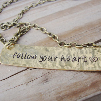 Follow your heart brass gold hand stamped necklace