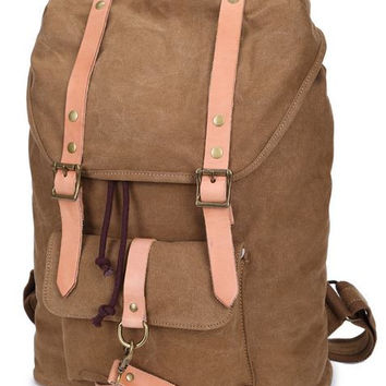 Canvas & Leather Casual Student Laptop Backpack