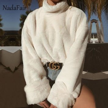 Nadafair long sleeve turtleneck white soft plush sweater women winter casual thick warm faux fur pullover tops women
