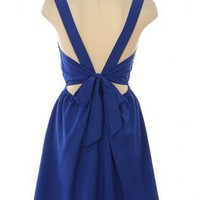 Navy Sleeveless Dress with Ribbon Tie Back