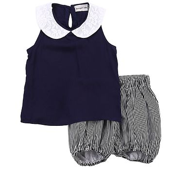 Kid baby girls clothes set summer Toddler Summer Beach Outfits Clothes T-shirt Tops+ Bloomers 2PCS Set