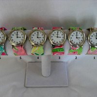 Silver Wristlet Watch Made from Your Choice of Lilly Pulitzer Fabric..Group 1