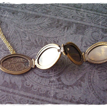 Gold Four Compartment Locket Necklace - Antique Bronze Four Compartment Locket Charm on a Delicate 18 Inch Gold Plated Cable Chain