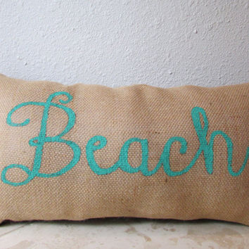 "Nautical Themed Cursive Decorative Lettering ""Beach"" Burlap 11X20 inches Custom Accent Pillow"
