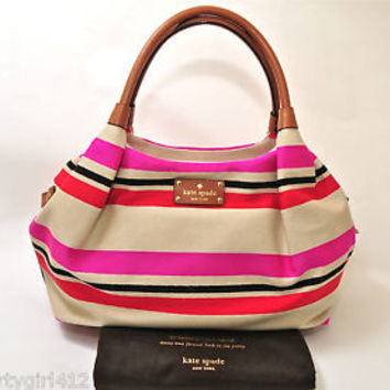 KATE SPADE Oak Island Stripe Pink Canvas Leather Stevie Satchel Handbag NWT 328.