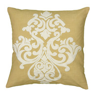 "Applique with Embroidered Yellow Pillow Cover (20"" x 20"")"