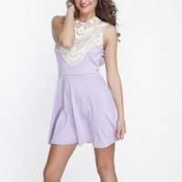 Purple Backless Party Dress with Lace Neckline