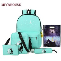 Miyahouse Brand 5 Pcs/set Women Backpack Cute Cat School Bags For Teenage Girls Canvas Printing Backpacks Ladies Shoulder Bags