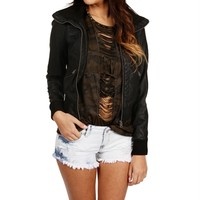 Black Faux Leather Bomber Jacket