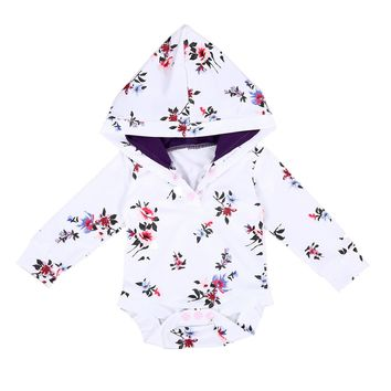 Baby Rompers Long Sleeve Romper Hooded Infant Baby Boy Girl Floral Jumpsuit Outfit Autumn Fashion Baby Clothes