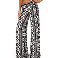 Black/Ivory Chevron Tribal Palazzo Pants