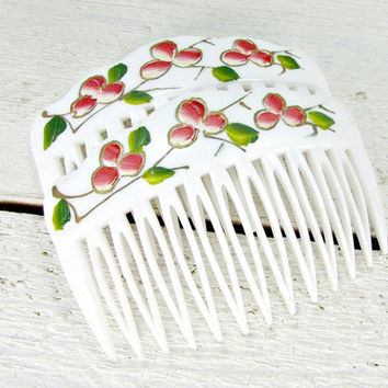 Vintage Hand-Painted Hair Comb Set, Red Cherry Hair Combs, White Plastic Hair Combs, Decorative Combs, 1970s Hair Accessories for Girls