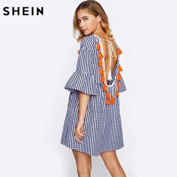 Blue Plaid Straight Boho Dress Half Sleeve Drop Waist Short Dress