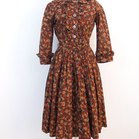 vintage day dress XS // rust brown gold floral shirt dress // ruffle details 50s 60s