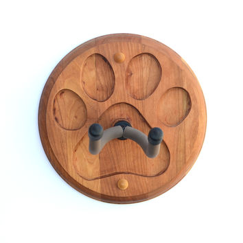 Guitar wall hanger handcrafted in hardwood with paw print design