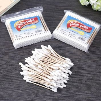 100pcs/Pack Double Head Wood Cotton Swabs Stick Makeup Remover Nose Ears Cleaning Cosmetics Tool L3