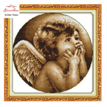 Needlework,DIY DMC Cross stitch,Sets For Embroidery kits,Looking angel Patterns Counted Cross-Stitching,Wall Home Decor