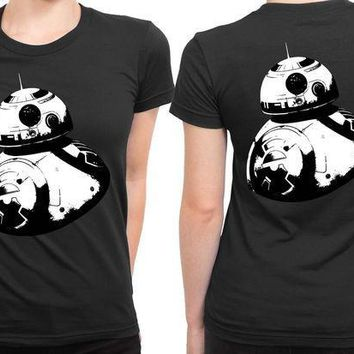 ESBH9S Star Wars The Force Awakens Droid Bb Eight Black And White 2 Sided Womens T Shirt