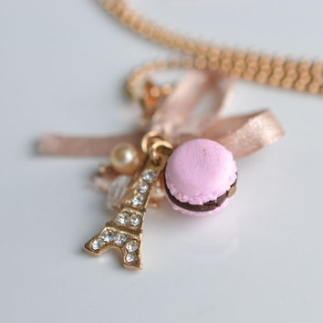 18kt Gold plated Parisian sweets macaron charm necklace Scented food jewelry Eiffel tower jewelry