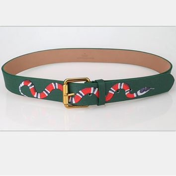 GUCCI fashion man women Smoothing belt snake print belt H Tagre™