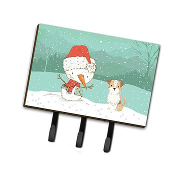 Brown and White Terrier Snowman Christmas Leash or Key Holder CK2096TH68