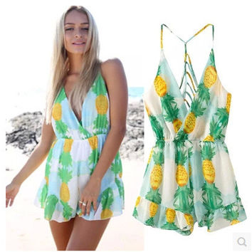 Pineapple Pattern Summer Fashion Style Lovely Women Clothing = 4697438724