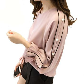 Plus size Chiffon shirt female 2018 Blusa Beaded Tops Autumn long-sleeved Solid color Women blouse Women clothing