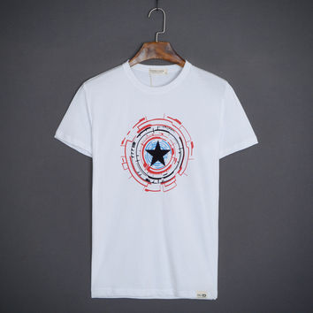Round-neck Short Sleeve Cotton T-shirts [10510791555]