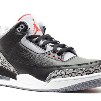 Ready Stock Nike Air Jordan 3 Retro Black Varsity Red Cement Grey Basketball Sport Shoes