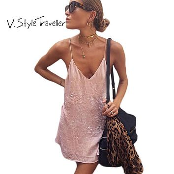 Summer Style Velour Slip Dress Women Casual ukraine vestido de festa Cheap Clothes China Sexy Boho Velvet Pink Camis Dresses E