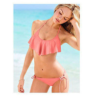Coral Ruffle Fashionable Sexy Cute Bikini Swimsuit Swimwear b4105