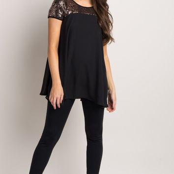 Black-Sequin-Accent-Chiffon-Tunic