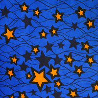 Blue Yellow stars African print fabric African Textile by the Yard from African Fabric Shop Ankara fabric African Supplies African print