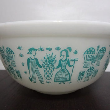 Vintage Pyrex 403 Amish Butterprint Nesting Mixing Bowl - 2 1/2 Qt Blue Print on White Mixing Bowl