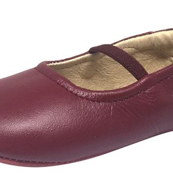 Old Soles Girl's 013 Luxury Ballet Burgundy Leather Elastic Mary Jane Flat Shoe