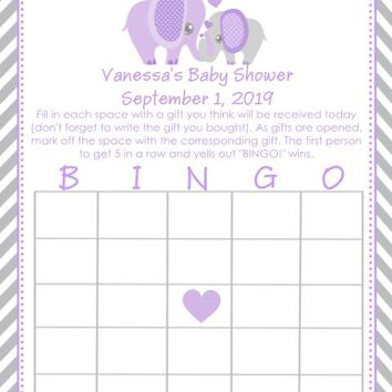 10 Purple Elephant Baby Shower Bingo Cards