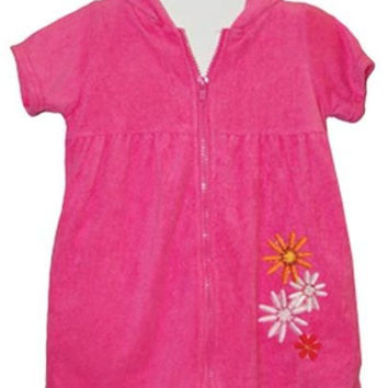 infant girl's pink floral zippered terry robe cover-ups Case of 12