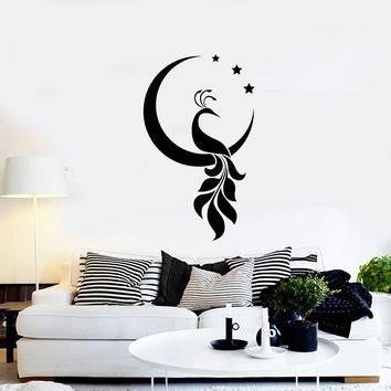 Vinyl Wall Decal Peacock Bird Crescent Stars Decor Room Home Interior Stickers Mural (ig5699)