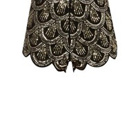 Parisian Gold Sequin Scallop Hem Shorts