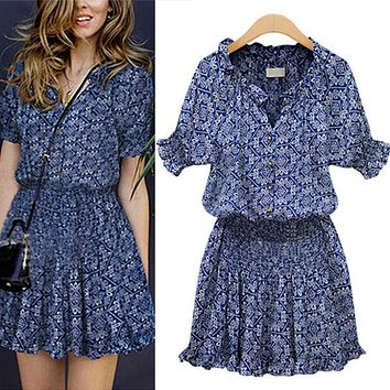 Summer Dress Women Mandarin Collar Woman Dress V-Neck Elastic Short Sleeve Beach Dress