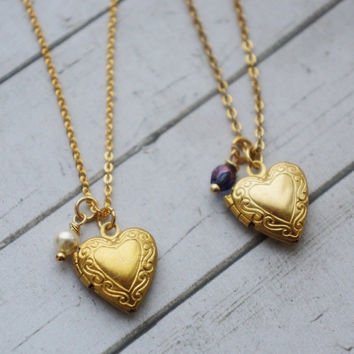 Heart Locket Necklace. Gold Heart Necklace. Locket with Initials