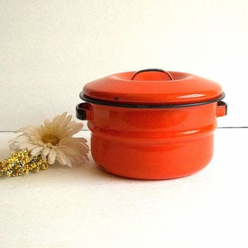 Vintage Orange & Black Enamelware pot with lid, enamel pot w handles, Mid Century kitchen, Retro cooking saucepan graniteware