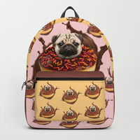 Pug Succulent Chocolate Donut Backpack by lostanaw